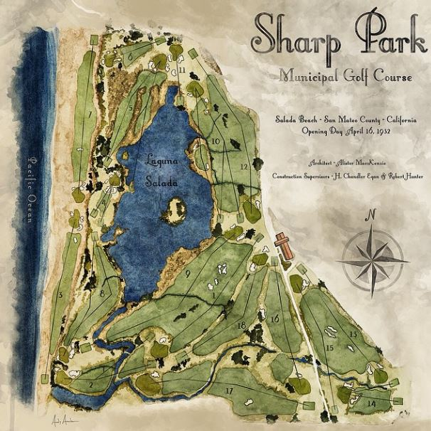Original Alister MacKenzie 1932 Sharp Park Routing