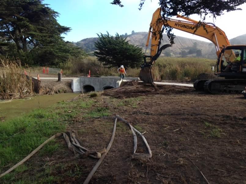 Repaired culvert and bridge at 12
